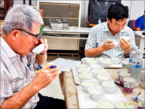 今年縣內最後一場稻米品質競賽昨天在鹿野鄉舉行,評審仔細從好米中選出最優者。(記者王秀亭攝)