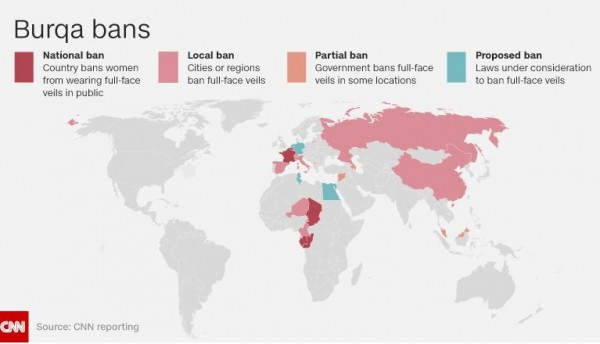 全球對於布卡面紗的禁止分布。(圖擷自CNN)