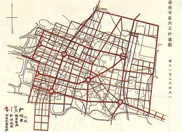 日治時期台南市區改正計劃圖。(擷自臉書)