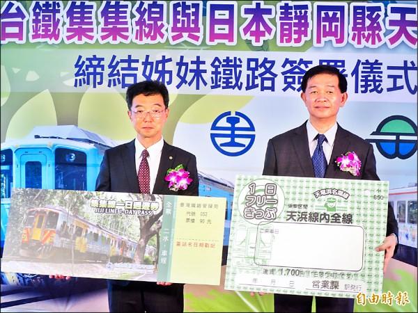 台鐵運務處長張錦松(右)與日本天龍濱名湖鐵道社長植田基靖(左)互持對方一日票週遊券。(記者劉濱銓攝)
