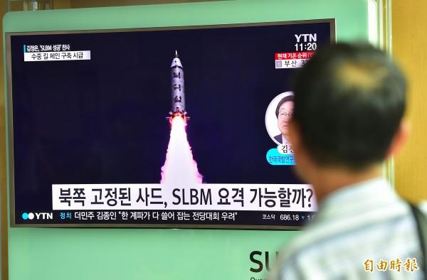 北韓本月廿四日再度試射潛射彈道飛彈(SLBM),並成功落入日本防空識別區海域。(法新社)