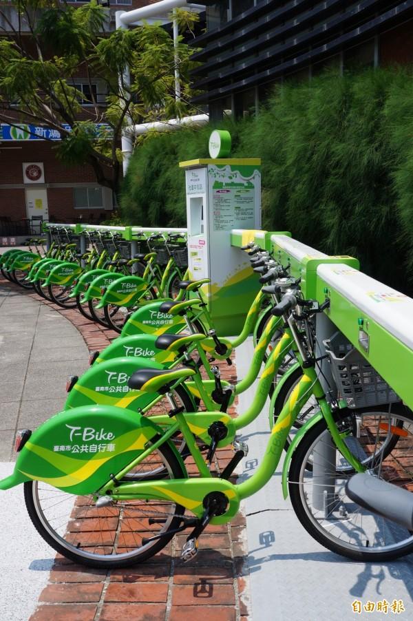台南市公共自行車不受此次系統異常問題的影響。(記者林孟婷攝)