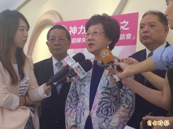前副總統呂秀蓮出席活動,談及蔡政府上任後的問題。(記者郭逸攝)