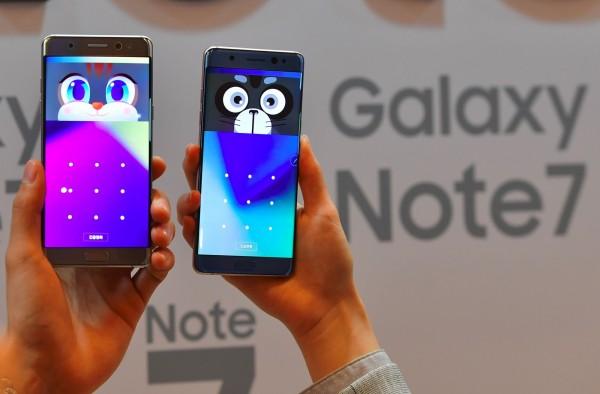 三星最新的智慧型手機GALAXY Note 7頻傳爆炸事件。(資料照,法新社)