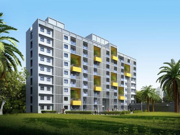 台中市已興建第二處社會住宅,圖為大里光正段社會住宅示意圖。(台中市政府提供)