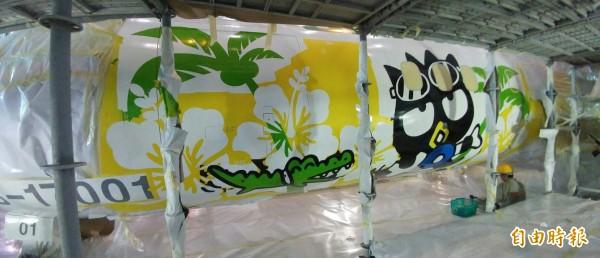 立榮航空9月13日將推出立榮首架卡通彩繪機。(記者姚介修攝)