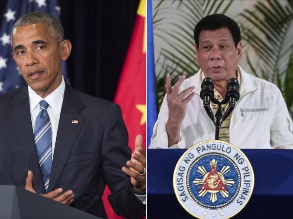 杜特蒂(右)嗆歐巴馬「妓女之子」之後,美方決定取消2位元首會談。(法新社)