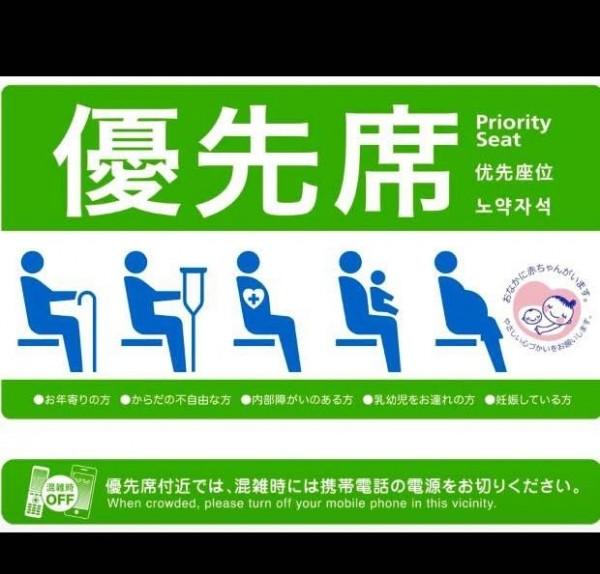 旅居日本的台灣人分享,台灣可以參考日本博愛座的做法,增加內部障礙一環。(圖中左起第3圖)。(圖由阿宗提供)