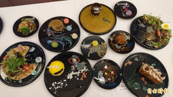 漆藝螺鈿研習營成果發表會,結合知名餐飲集團呈現工藝食尚。(記者劉婉君攝)