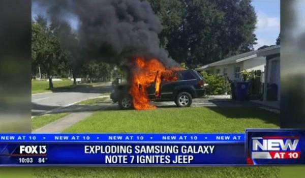 美國傳出三星爆炸引起火燒車的嚴重事件。(圖取自福斯電視)