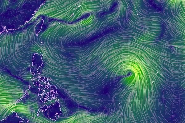 中央氣象局證實,昨仍在關島附近的熱帶性低氣壓最快今天增強為颱風。(圖擷自earth)