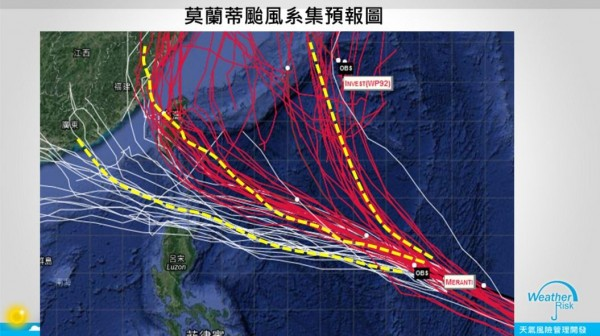賈新興認為,莫蘭蒂是否侵台仍有變數,系集預報顯示目前莫蘭蒂預測路徑屬於「炸彈開花型」,不確定因素高。(圖擷取自賈新興臉書粉絲專頁)