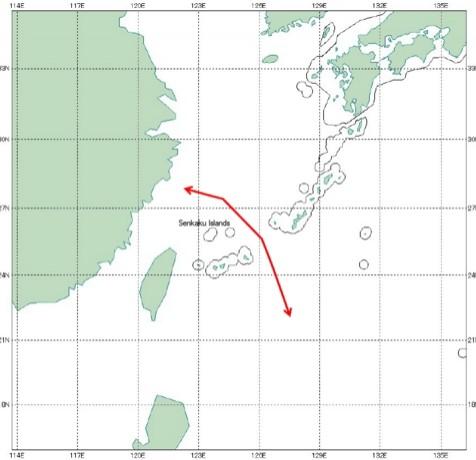 中國戰機在2015年飛過宮古海峽的路線。(圖擷自推特)