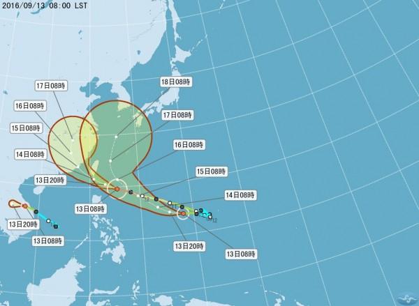 颱風路徑預測圖。(圖擷自《氣象局》)