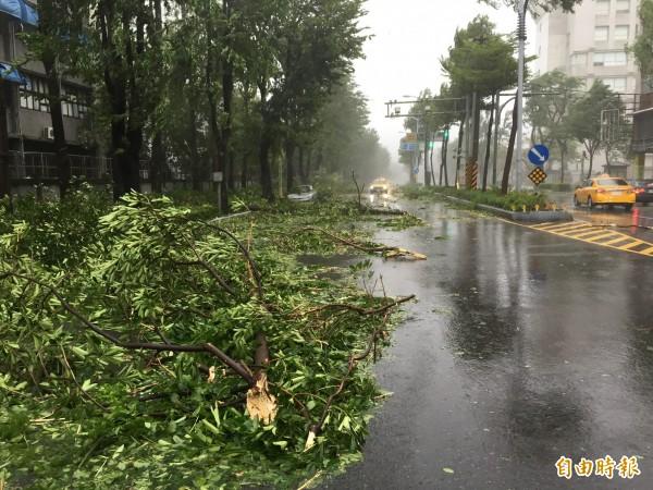 莫蘭蒂颱風來勢洶洶,高雄一度颳起16級強陣風,執勤員警為協助受困騎士,還因此受傷住院。(記者黃良傑攝)