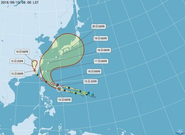 馬勒卡目前距離台灣約1200公里,以每小時24公里速度向西北西轉西北進行。(圖取自氣象局)