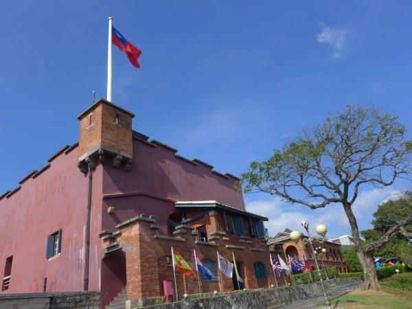2014年7月的紅毛城主堡,進行第三次修繕工程前的樣貌。(記者李雅雯攝)