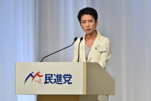 日媒公布電訪民調,有56.9%的日本民眾期待蓮舫日後表現,38.4%則是不期待。(法新社)