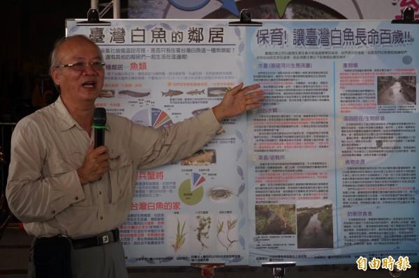 清華大學教授曾晴賢表示,臺灣白魚數量比國寶魚櫻花鉤吻鮭還要少,相當珍貴。(記者歐素美攝)