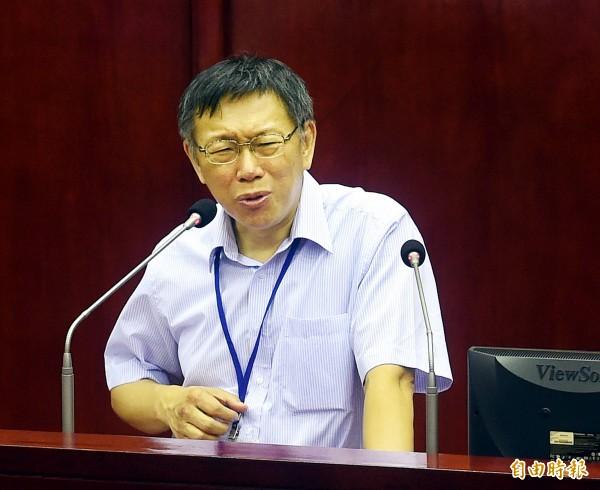 台北市議會21日進行市長市政總質詢,市長柯文哲議會列席備詢。(記者方賓照攝)