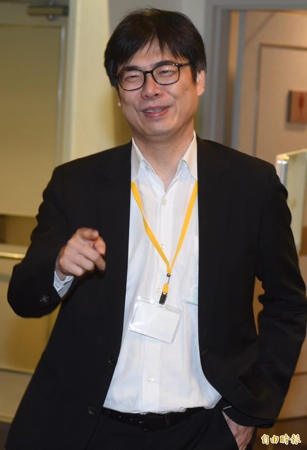 民進黨立委陳其邁諷刺,馬英九在法學講座要談的應該是「從國際法談濫權監聽在司法追殺之實踐」。。(資料照,記者簡榮豐攝)