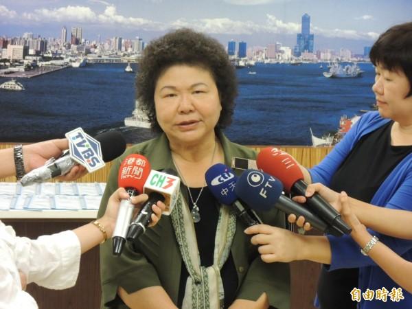 陳菊上午指出,半天假引發市民不便、是她思慮不周。(記者王榮祥攝)