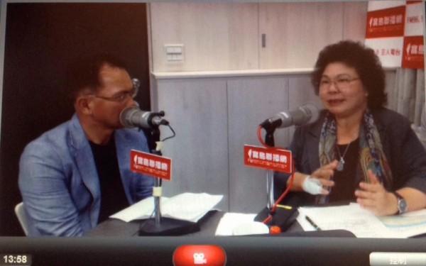 高雄市長陳菊接受廣播節目專訪表示,請外界至少給林全一年的觀察期,她對林全有絕對的信心。(圖擷取自寶島聯播網臉書)