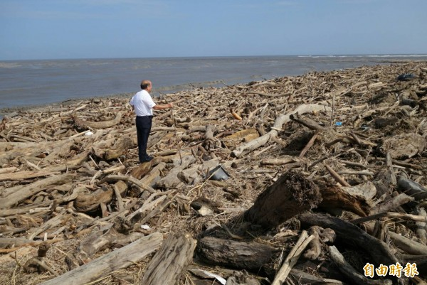 壯圍海灘綿延5公里遍布漂流木。(記者簡惠茹攝)