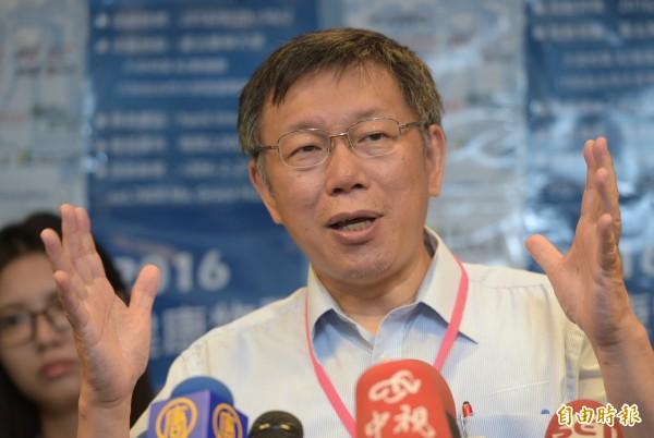台北市長柯文哲2日出席2016健康物聯網黑客松閉幕式,會後受訪。為免受恐怖攻擊,建議政府應蓋更大清真寺(記者張嘉明攝)