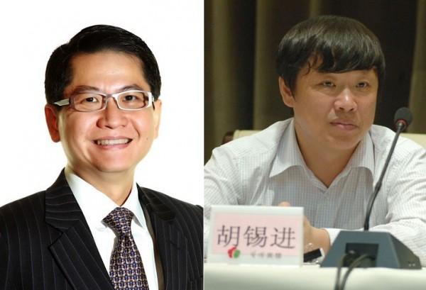 新加坡駐中國大使羅家良(左)和中共黨媒《環球時報》總編輯胡錫(右)。(合成照,圖擷自網路)