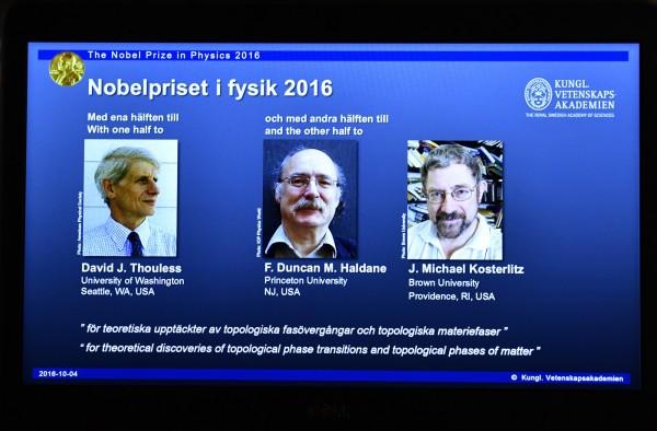 2016諾貝爾物理學獎,由3位美國學者獲獎。(美聯社)