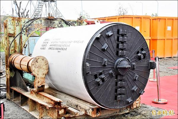 彰化污水下水道系統昨天啟動管網推進機頭,降低施工期間交通不便。(記者劉曉欣攝)