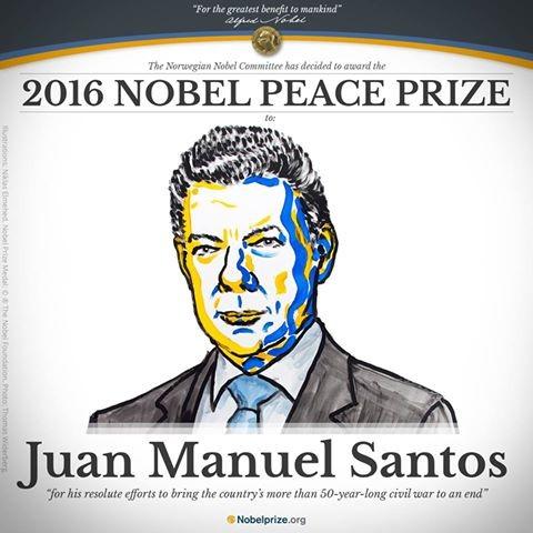 2016諾貝爾和平獎由哥倫比亞總統桑托斯獲得殊榮。(圖擷自Nobel Prize臉書)