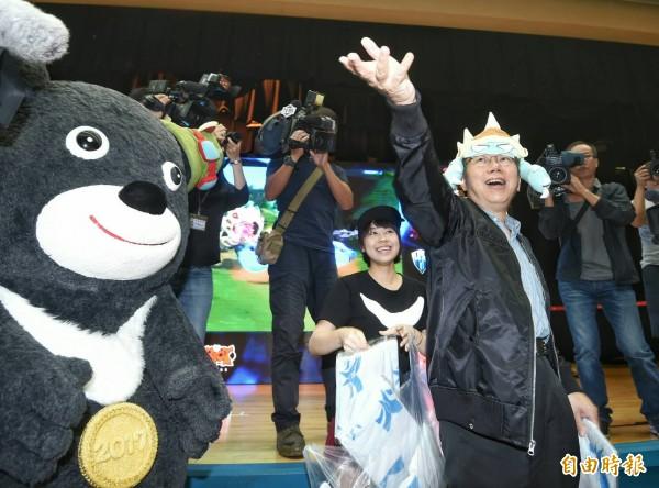 柯文哲出席世界電競大賽加油活動。(記者方賓照攝)