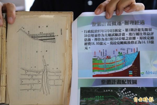 李儀衹全書中的地下水補注示意圖(左)與大潮州人工湖工程圖如出一轍。(記者邱芷柔攝)