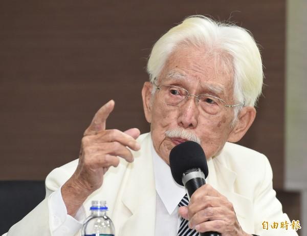 辜寬敏今天出席國慶大典,呼籲新政府趕快特赦前總統陳水扁。(資料照,記者朱沛雄攝)