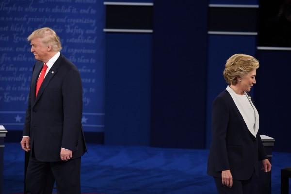 美國總統大選新一波民調出爐,希拉蕊以46%的支持度領先川普的35%。(法新社)