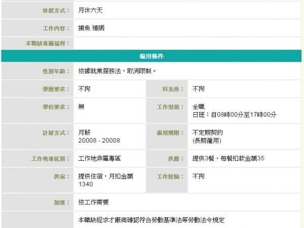 許多漁工職缺為週休二日,但也有部分為月休6天。(圖擷自台灣就業通求職網站)
