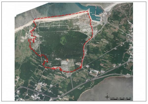 美商柯蒂斯集團在白沙後寮,聲稱投資214億元土地空照圖,(澎湖縣政府旅遊處提供)