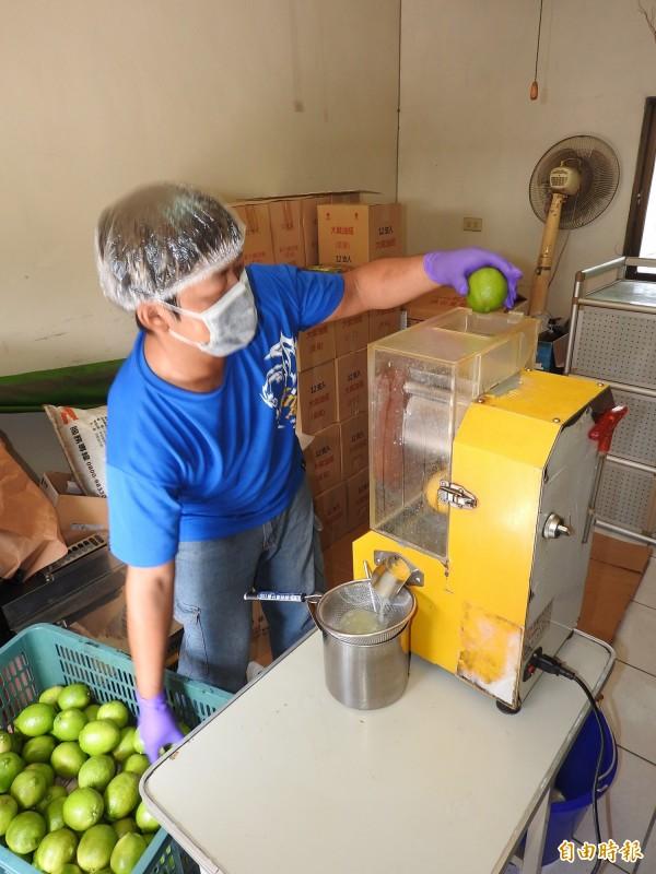 除了販售鮮果,李洽滄也將外皮有暇疵賣相不佳的無籽檸檬製成原汁或果醋、酵素。(記者佟振國攝)