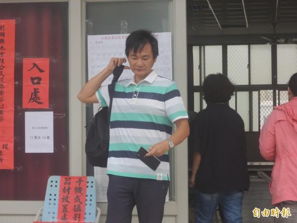 澎湖反賭場聯盟召集人傅靜凡,在東文投開票所完成投票。(記者劉禹慶攝)