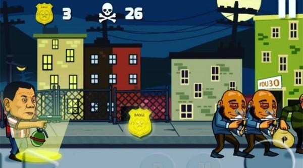 遊戲開發者突發奇想,設計出一款名為「杜特蒂打擊犯罪 2」的手機遊戲,令玩家能夠以暴制暴,打擊犯罪。(圖擷自iamlewo / Instagram)
