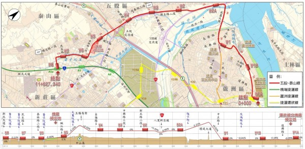 五股、泰山輕軌路線,其中兩站點W2A、W2規劃設置於於二重疏洪道堤頂,與堤防共構,遭水利署質疑影響防洪安全。(新北市捷運工程局提供)