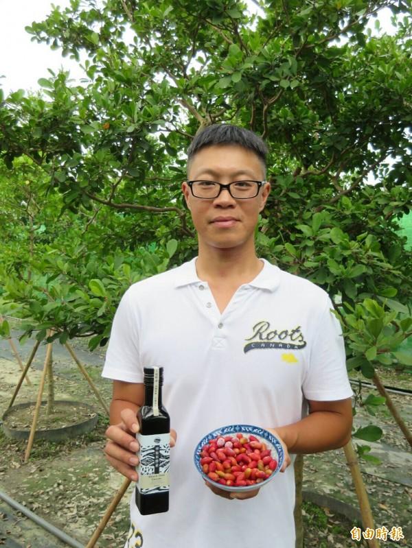 李家榮返鄉種神秘果並製作酵素。(記者羅欣貞攝)