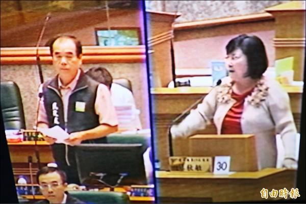 議員蔡秋敏(右)要求民政處長程源宏(左)向全縣民眾道歉。(記者詹士弘攝)