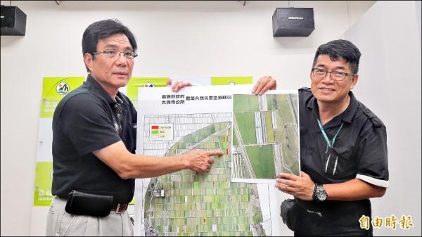 嘉義縣府農業處長林良懋(右)及太保市長黃榮利(左)認為,空拍技術未來可用在災損勘查。(記者林宜樟攝)