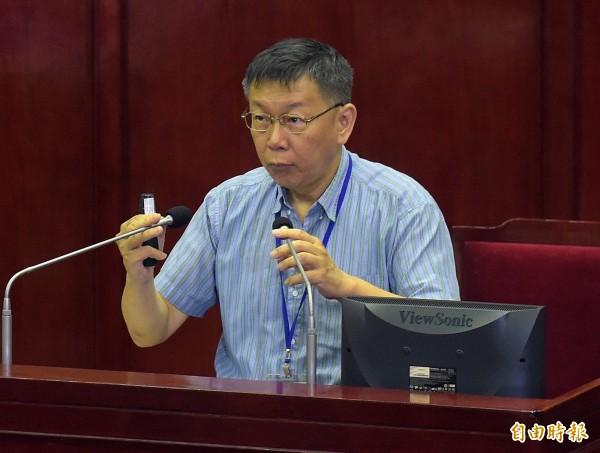 台北市長柯文哲24日赴市議會進行大巨蛋、南港機廠等專案報告。(記者黃耀徵攝)