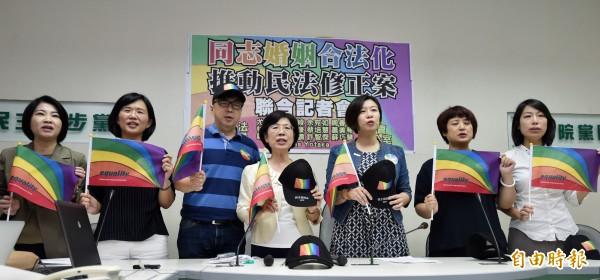 民進黨立院黨團上午召開「同志婚姻合法化」記者會,下午護家盟前往立院抗議。(記者簡榮豐攝)