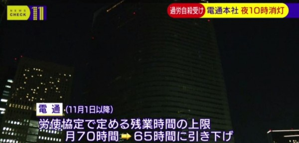 在相關規定實施後,電通大樓幾乎漆黑一片。(圖擷取自NHK)