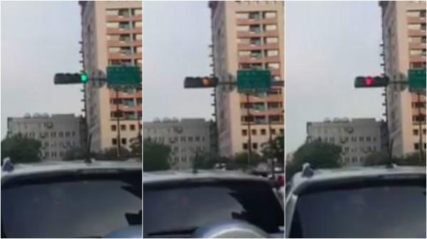 新北市一路段的號誌燈疑因故障,不過3秒鐘的時間,就從綠燈變成黃燈再變成紅燈。(圖擷自爆料公社)